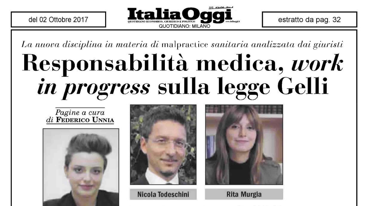 Riforma Gelli Bianco: su ItaliaOggi tra le altre l'opinione dell'Avv. Nicola Todeschini